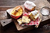 Mini quark stollen cakes with candied lemon peel and rum raisins