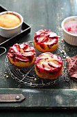 Mini upside-down plum cakes