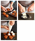 Small Mont Blanc cakes being decorated