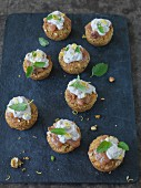 Vegan carrot muffins with nuts and citrus quark