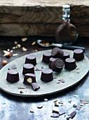 Vegan hazelnuts pralines filled with chocolate cream