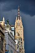 Architecture on the Gran Via shopping street in Madrid, Spain