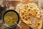 Spinach soup with flatbread (top view)