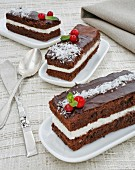 Chocolate slices with fresh cheese and coconut