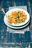 Sauerkraut, leek and red pepper salad