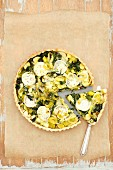 Tart with spinach, leeks and goat s cheese
