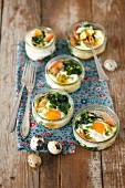 Eggs baked with spinach and salmon for Easter