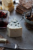 Blue cheese, crackers, nuts and chutney