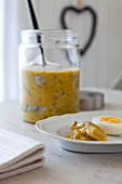 Mustard with harring and boiled egg