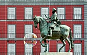 The horseman statue of Philipp III. on Plaza Mayor in Madrid, Spain