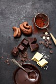 Various types of chocolate for cakes and tarts