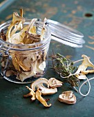 Home-dried mushrooms with herbs