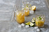 Sugar-free ice tea and pineapple mojito