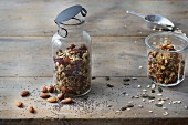 Homemade sugar-free crunchy chia muesli and honey granola