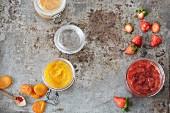 Dried saffron apricot spread and strawberry and tonka bean spread