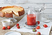 Sugar-free quark cheesecake with strawberry coulis