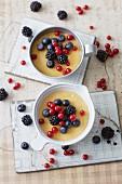 Sugar-free yuzu lemon dessert with fresh berries