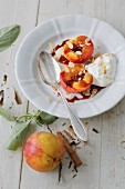 Spiced nectarines with sherry cream (sugar-free)