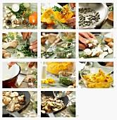 Kürbispüree mit gebratenen Pilzen und Kürbiskernpesto zubereiten