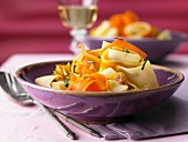 Carrot pappardelle with sultanas, onions and Marsala