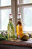 Tarragon vinegar and porcini mushroom oil as Christmas presents