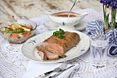 Roast veal with spring vegetables