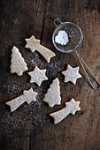 Butter biscuits dusted with icing sugar