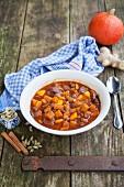 Lamb and pumpkin stew with raisins