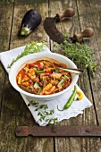 Vegetable stew with aubergines and zucchini