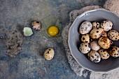 Quail eggs in a bowl