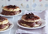 Pancake cakes with mocha cream