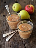 Oven-baked vegan apple and pear puree