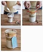 Backmischung für veganen Kokos-Guglhupf mit weisser Schokolade zubereiten