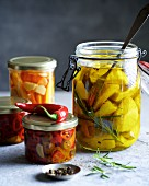 Bottled and pickled vegetables in preserving jars
