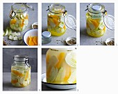 Fennel being fermented with oranges