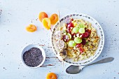 Vegan millet bowl with grapes and a banana skewer (soya-free)