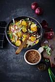 Vegan fried potato salad with buckwheat pops (soya-free)