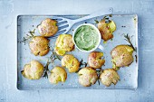 Smashed potatoes with broccoli aioli (soya-free, vegan)