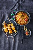 Vegan sweet potato skewers with couscous (soya-free)
