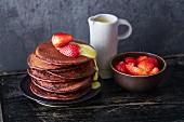 Vegan chocolate pancakes with strawberries (soya-free)