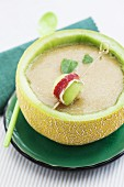 Cold melon soup with port wine and ham