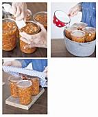 Vegan vegetable bolognese being cooked in jars