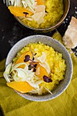 Saffron risotto with orange, fennel, Sakura Cress and parmesan