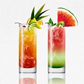 Tropischer Rum- und Wassermelonen-Cocktail