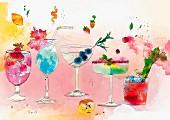 Reihe verschiedener tropischer Cocktails