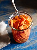 Carrot pickles in a glass