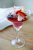 Strawberry pannacotta with summer berrys and meringues