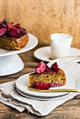 A slice of hazelnut and plum cake