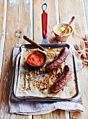 Grilled sausage with salsa rosso