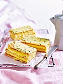 Passionfruit vanilla slice with Custard